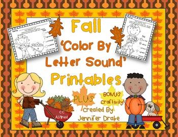 Fall 'Color By Initial Sound' Printables PLUS BONUS Fall H
