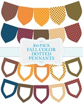 "Fall Color Dotted Pennants - 20-Pack - 8.5"" x 11"""