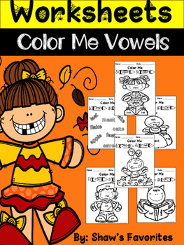 """Fall """"Color By Vowels"""" Worksheets"""