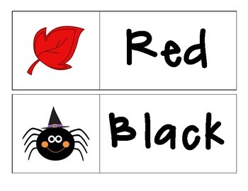 Fall - Color Words Match Up