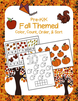 Fall Coloring, Counting, Sorting, & Ordering Activities