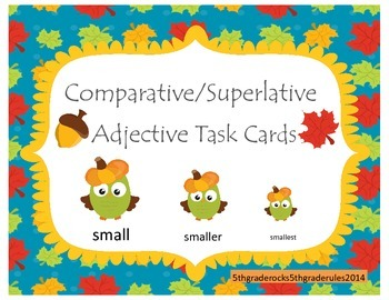 Fall Comparative and Superlative Adjective Task Cards