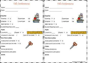 Fall Conference Form for Kindergarten