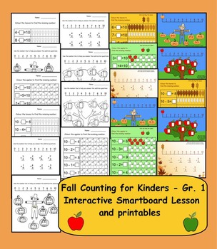 Fall Counting for Kinders - Gr. 1 Interactive Smartboard L