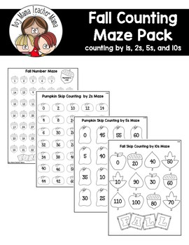 FREE Fall Counting Mazes