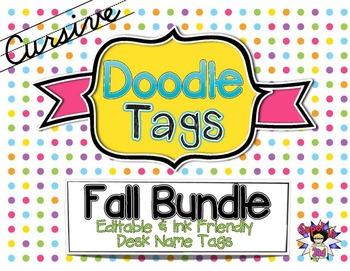 Fall Cursive Doodle Tags Bundle - Ink Friendly Editable De