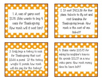 Fall Decimal Operation Task Cards