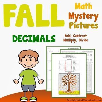 Fall Decimals Coloring Worksheets (Autumn)