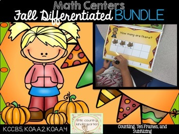 Fall Differentiated Math Centers Bundle: Clipcards, Ten Fr