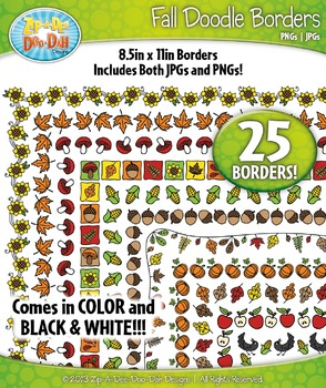 Fall Doodle Frame Borders Set  — Includes 25 Graphics!