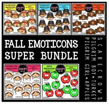 Fall Emoticons Clip Art Super Bundle