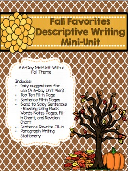 Fall Descriptive Writing Mini-Unit