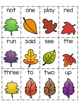 Fall Flashcards and Game: letters, numbers, and sight words.