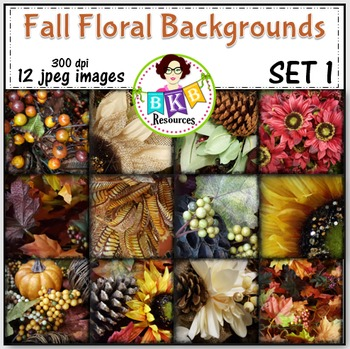 Fall Floral Photo Digital Background Papers Set 1- {Graphi