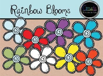 Rainwbow Blooms - Digital Clipart