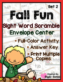 Fall Fun Sight Word Scramble Envelope Center Set 2