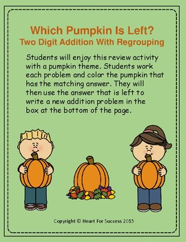 Fall Fun: Which Pumpkin Is Left?  Two Digit Addition With
