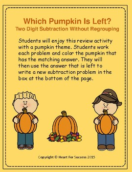 Fall Fun: Which Pumpkin Is Left?  Two Digit Subtraction Wi