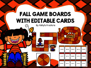 Fall Game Boards With Editable Cards