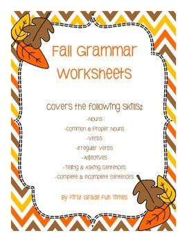 Fall Grammar Worksheets