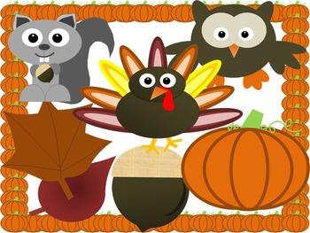 Fall Graphic Clip Art Set Owl Pumpkin Squirrel Nut Leaves