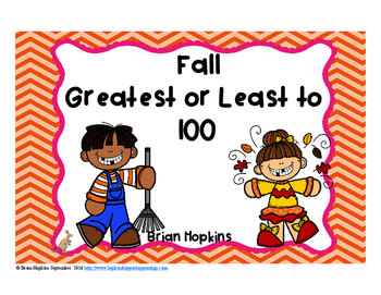 Fall Greatest and Least to 100 Task Cards FREEBIE
