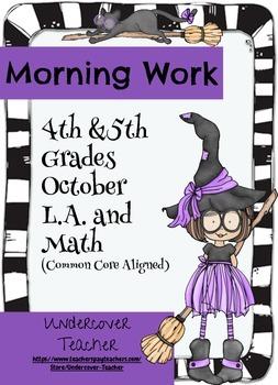 Fall Halloween 4th & 5th Gr. Morning Work - Math and Langu