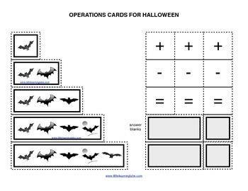 Fall Halloween Batsoperations cards prek primary math addi