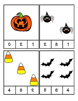 Fall Halloween Count and Clip Cards #1-24