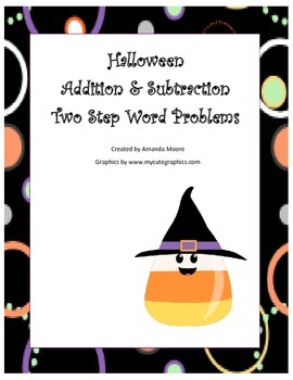 Fall Halloween Double Step Word Problems Addition & Subtraction
