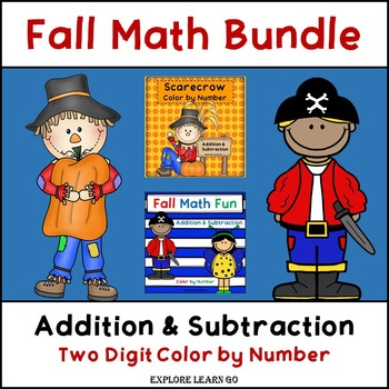 Fall Math Bundle / Halloween / Addition & Subtraction Colo