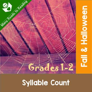 Fall & Halloween Syllable Count: Grades 1-2
