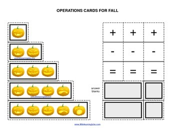 Fall Halloween Theme operations cards prek primary math ad