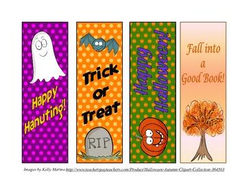 Fall & Hallowen Bookmarks