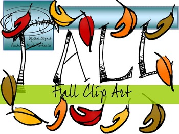 Fall Handlettering Clip Art - Color and Line Art