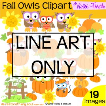 Fall Harvest Owls Line Art Pumpkin Sunflower Thanksgiving