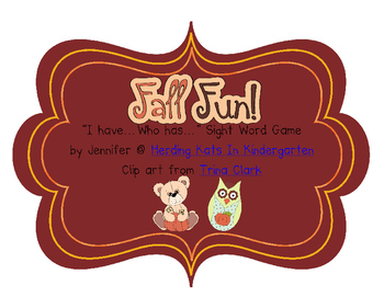 Fall  I have...Who has..? Sight Word Game