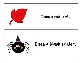 Fall - I see... Color Words - Pocket Chart Printable