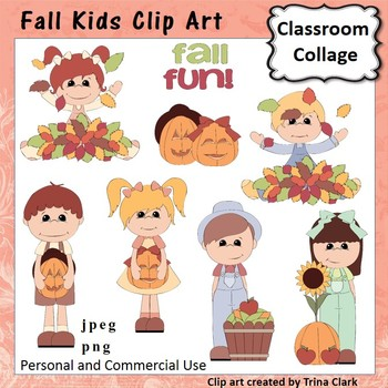 Fall Kids Clip Art - Color - personal & commercial use