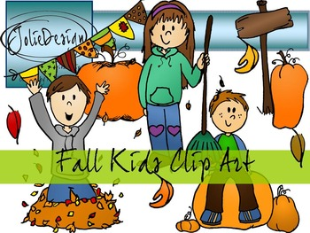 Fall Kids Clip Art Pack- Color and Line Art 20pc set