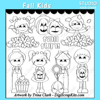 Fall Kids line drawings  pers/comm use T. Clark
