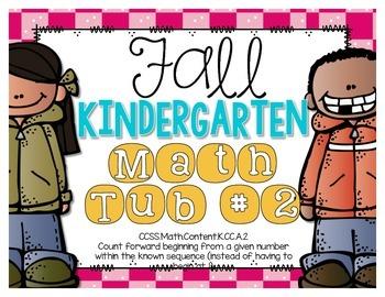 Fall Kindergarten Math Tub #2 {Counting Forward From A Giv