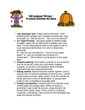 Fall Language Therapy Activities