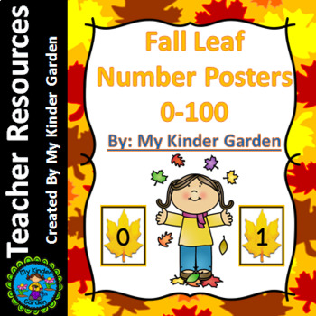 Fall Leaf Full Page Number Posters 0-100