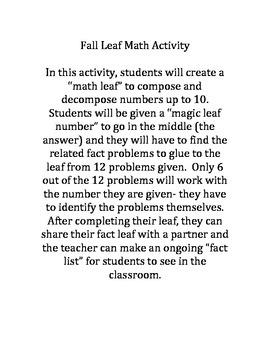 Fall Leaf Math Activity