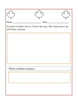 Fall Leaf Subtraction Story Problem