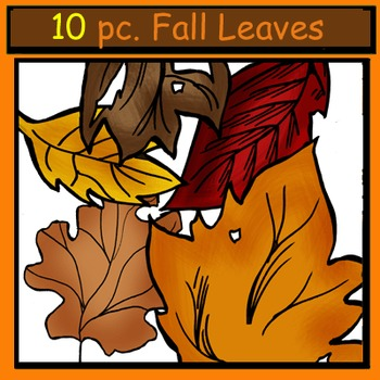 Fall Leaves 10 Pc. Clip-Art: BW and Color