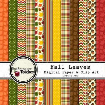 Fall Leaves Autumn Digital Paper Backgrounds and Clip Art