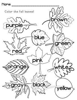 Fall Leaves - Color Words