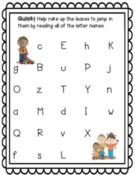 Fall Letter Naming Fluency BUNDLE